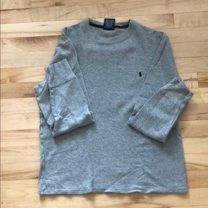 Polo long sleeve waffle knit shirt